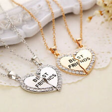 Best Friend Heart Silver Gold Tone 2 Pendants Necklace Bff Best Friendship Newly