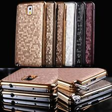 Luxury Leather Chrome Hard Back Cell Phone Case Cover For Samsung Galaxy Phone