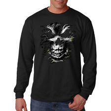 Melting Silver Skull Gothic Biker Motorcycle Long Sleeve T-Shirt Tee
