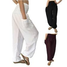 Ladies Baggy Pants - Baggy Harem Yoga Trousers, Loose Fitting Pants One Size
