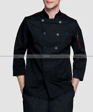 Restaurant Basic Chef Coat Chef Works Black 3/4 Sleeve Black/Red/White
