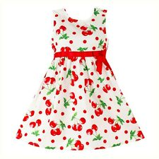 NEW Girls Dress Cherry Print Cotton Party Pageant Baby Kids Clothing  Size 2-10y