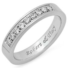 Quality Stainless Steel Half Eternity Ring with Clear CZ - Free Engraving