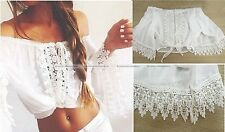 Women BOHO Bohemian Bell Sleeve Blouse Openwork Lace T-shirt New 10515001