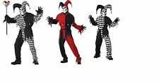 Evil Jester Black/white or Red/Black Child and and Adult Scary Clown Costume New
