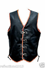 Mens Leather Vest Motorcycle Biker Rider Vest Waistcoat Yellow & Red Braided