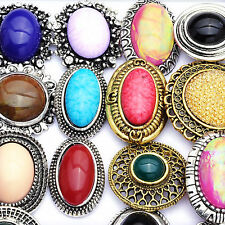 10/20Pcs Wholesale Lots Gold Plated Women Mixed Color Gem Stone Adjustable Rings