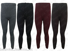 New Ladies Women's Ribbed Knitted Full Length Stretchy Leggings One Size 8-14