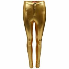 WOMENS HIGH WAIST BLACK GOLD SILVER STRETCH SKINNY FIT TUBE TROUSERS DISCO PANTS