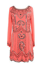 BNWT Coral 1970's Long sleeve embellished shift dress Tunic top sz 8 to 24