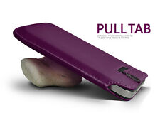 Purple Pull Tab Slide In Flip Soft Skin PU Leather Case Cover Pouch Sleeve