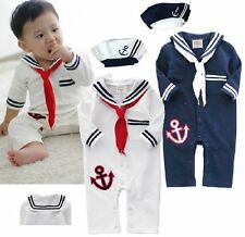 Baby Boy Girl Halloween Party Sailor Costume Outfit Clothes Gift+HAT Set 3-24M