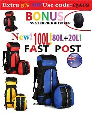 100L =80L+20L CAMP Backpacks Bag Camping Hiking Travel Red Blue Yellow Black