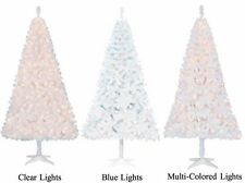 Modern Christmas Tree & Stand WHITE 6.5 Ft Pre-Lit  Clear/Blue/Color Lights NEW
