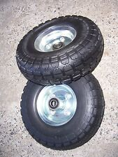 PAIR of hand trolley PUNCTURE PROOF wheels 10 inch suit 5/8