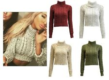 Womens Ladies Roll Polo Neck Chunky Cable Knitted Crop Jumper High Pullover Top
