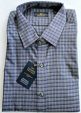 Club Room Estate 100% Cotton Charcoal Storm & Blue Check Regular Fit Dress Shirt