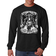 Shut Up & Ride Skeleton Skull Riding A Hog Motorcycle Long Sleeve T-Shirt Tee