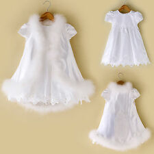 Baby Girl Toddler Christening Baptism Faux Fur Maria Dress Gown  0 to 30 Months