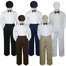 4pc Boys Baby Toddler Kids Chocolate Brown Bow Tie Formal Set Suit Hat S-7
