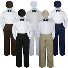 4pc Boys Baby Toddler Kids Navy Bow Tie Formal Set Suit Hat S-7
