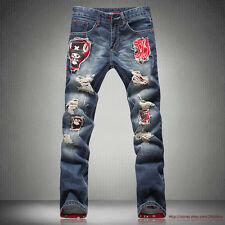 HOT Mens Jeans Young Torn Jeans Holey Ripped Distressed Washed Straight Leg Slim