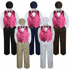 Boys Baby Toddler Kids Burgundy Maroon Vest Bow Tie Formal Set Suit Hat S-7