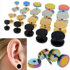 Stainless Steel 2pcs Fake Cheater Ear Plugs Gauge Illusion Body Jewelry Piercing