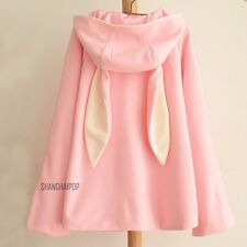 Womens Girl Loose Bunny Ear Double Breasted Coat Trench Jacket Outerwear Hoodie