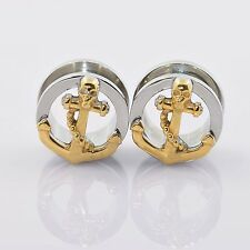 Polished Stainless Steel Skull Anchor Internally Ear Flesh Tunnels Plug Expander