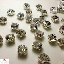 SS28 Rhinestone - Silver Plated Point Back Sew On Crystal Clear Glass Stones