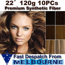 "22"" Clip in REMY Hair Extensions Full Head 120g Black Brown Blonde 22inch thick"