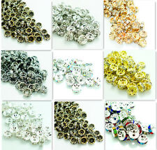 Wholesale 100pcs Czech Crystal Rhinestone Rondelle Spacer Beads DIY 6mm 8mm 12mm