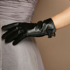 Womens Genuine Leather Gloves Warm Fleece lined Touch Screen Bowknot Black