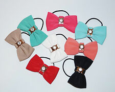 New Girls Kids Woman Bow With Cristal Hair Bands Elastic Hairband Bobbles Fabric