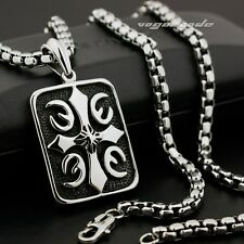 Huge & Heavy Fire Cross Square Mens 316L Stainless Steel  Biker Pendant 7H007D