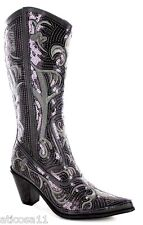 New Helens Heart Pewter Grey Sequin Western Boots Size 5, 6, 7, 8, 9, 10, 11, 12