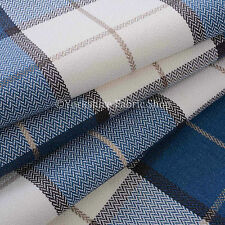 Soft Material Tartan Stripe Check Pattern Upholstery Cushion Curtain Blue Fabric