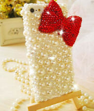 For Mobile Phone Sparkly Pearls Rhinestones Bling Cute Red Bow Hard Cover Case