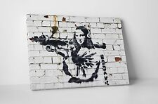 Banksy Mona Lisa With Bazooka Gallery Wrapped Canvas. BONUS BANKSY WALL DECAL!