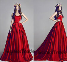 Red Sweetheart Satin Ball Gown Long Prom Party Pageant Quinceanera Dresses 6-16