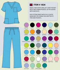 Medical Nursing Uniforms Unisex Pants&Top Beverly Hill Scrubs Black Sizes XS-2XL