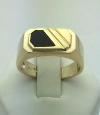 New 14K Yellow Gold Rectangle Black Onyx Ring (Available in Sizes 7-13) Small