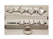 Set of 4 Premier Diamante Napkin Rings Oblong or Diamond Shaped