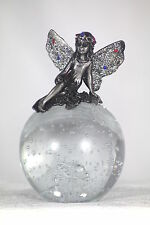 PEWTER FAIRY WITH GEMS ON CRYSTAL BALL - FANTASY GIFT - FAIRY MAGIC PAPERWEIGHT!