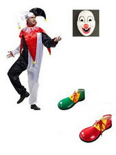 Adult CLOWN COSTUME Fancy Dress Halloween Circus Party Funny Mens Mask Shoes E