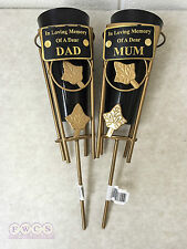 "2 Gold Metal In Loving Memory Grave Spike Vases ""SECONDS""  Choose Mum Or Dad"