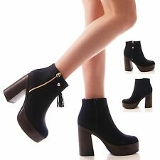 LADIES WOMENS ANKLE BOOTS PLATFORM BLACK GOLD ZIP UP BLOCK HEEL SHOES SIZE