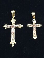 14k Solid Two-Tone Color Gold Cross Pendant Available in Small & Medium Sizes
