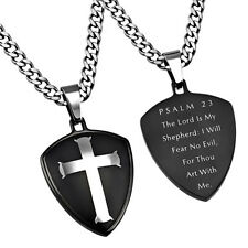 Black Shield of Faith Psalm 23 Necklace, LORD IS MY SHEPHERD Bible Verse, Curb